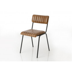 Chaise en cuir marron