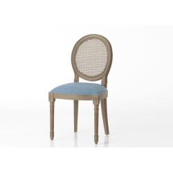 Chaise bleu foncé en acajou...