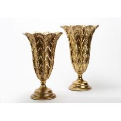 Set de 2 vases dorés en métal