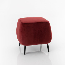 Pouf carré en velours Bordeaux