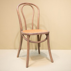 Chaise bistrot gris et cannage