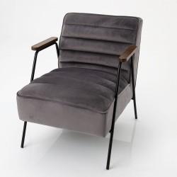 Fauteuil Hutch velours gris