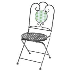 Chaise avec cabochon vert