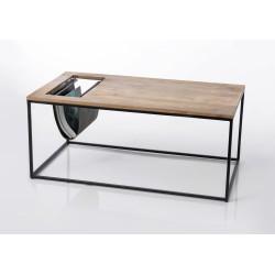 Table basse en bois et cuir...